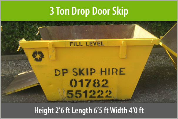 3 Ton Drop Door Skip For Hire Staffordshire